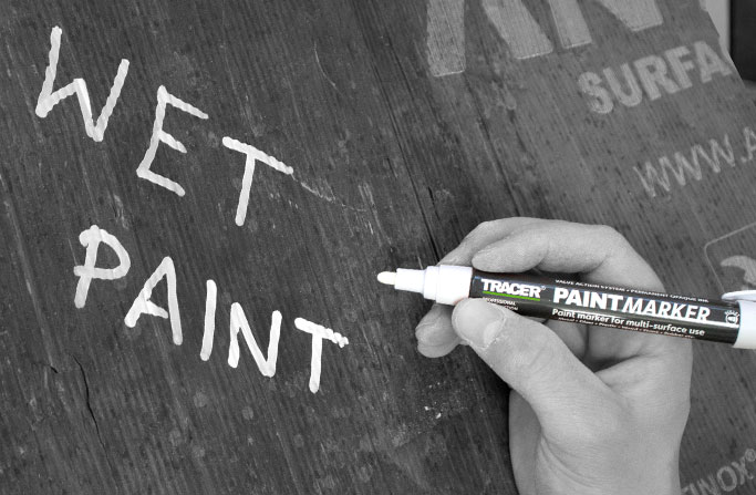 Paint marker used for 'Wet Paint' sign